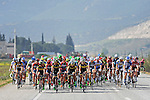 The peloton relaxed during Stage 7 of the 2015 Presidential Tour of Turkey running 166km from Selcuk to Izmir. 2nd May 2015.<br /> Photo: Tour of Turkey/Mario Stiehl/www.newsfile.ie