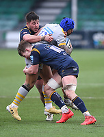 14th February 2021; Sixways Stadium, Worcester, Worcestershire, England; Premiership Rugby, Worcester Warriors versus Wasps; Ted Hill of Worcester Warriors tackles Malakai Fekitoa of Wasps