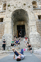 Dancers of The Royal Ballet Covent Garden relaxing at the Aspendos Theatre, Antalya, Turkey