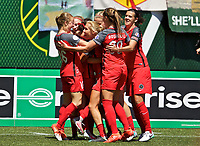 Portland, OR - Saturday July 15, 2017: Thorns celebrate Hayley Raso' goal during a regular season National Women's Soccer League (NWSL) match between the Portland Thorns FC and the North Carolina Courage at Providence Park.