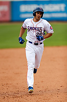 Tennessee Smokies right fielder Vance Vizcaino (29) jogs to third base after belting a home run against the Montgomery Biscuits on May 9, 2021, at Smokies Stadium in Kodak, Tennessee. (Danny Parker/Four Seam Images)