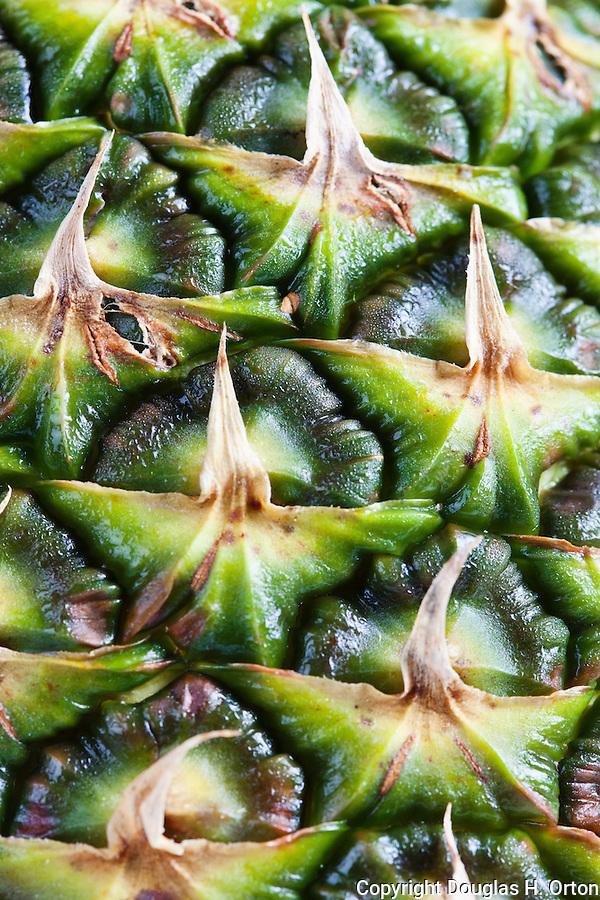 Pineapple (Ananas comosus) vertical close-up, macro of fruit skin.