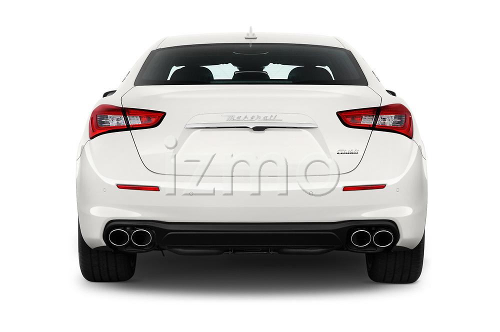Straight rear view of a 2020 Maserati Ghibil Base 4 Door Sedan stock images