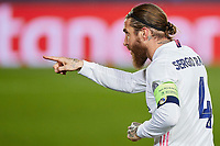 16th March 2021; Madrid, Spain;  Sergio Ramof Real Madrid celebrates after scoring the goal for 2-0 during the Champions League match, round of 16, between Real Madrid and Atalanta played at Alfredo Di Stefano Stadium