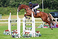 5th September 2021; Bicton Park, East Budleigh Salterton, Budleigh Salterton, United Kingdom: Bicton CCI 5* Equestrian Event; Gemma Tattersall riding Chilli Knight clears the fence on her way to winning Bicton 5*