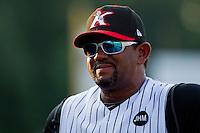 Kannapolis Intimidators pitching coach Jose Batista #38 during the game against the Delmarva Shorebirds at Fieldcrest Cannon Stadium on May 22, 2011 in Kannapolis, North Carolina.   Photo by Brian Westerholt / Four Seam Images