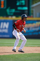 Erie SeaWolves second baseman Harold Castro (3) leads off second base during a game against the Reading Fightin Phils on May 18, 2017 at UPMC Park in Erie, Pennsylvania.  Reading defeated Erie 8-3.  (Mike Janes/Four Seam Images)