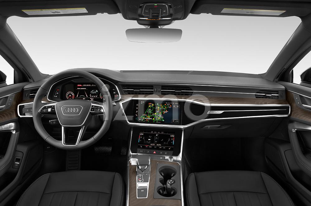 Straight dashboard view of a 2021 Audi A6 Sedan Premium Plus 4 Door Sedan