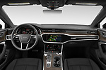 Stock photo of straight dashboard view of 2021 Audi A6-Sedan Premium-Plus 4 Door Sedan Dashboard