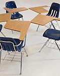 USA, Illinois, Metamora, Desks and chairs in classroom