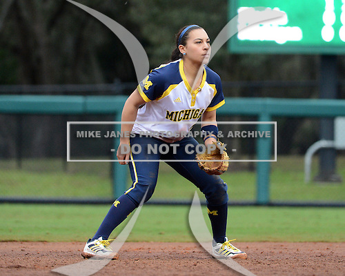 Michigan Wolverines shortstop Sierra Romero (32) during the season opener against the Florida Gators on February 8, 2014 at the USF Softball Stadium in Tampa, Florida.  Florida defeated Michigan 9-4 in extra innings.  (Copyright Mike Janes Photography)