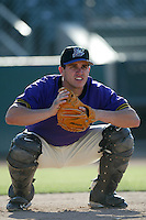 Miguel Montero of the Lancaster JetHawks plays in a California League baseball game during the 2005 season in Lancaster, California. (Larry Goren/Four Seam Images)