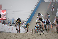 Wout van Aert (BEL/VerandasWillems-Crelan) leading the way (from the bat) as the peloton hits the sand for the very first time (and at high speed).<br /> <br /> Belgian National CX Championships 2017