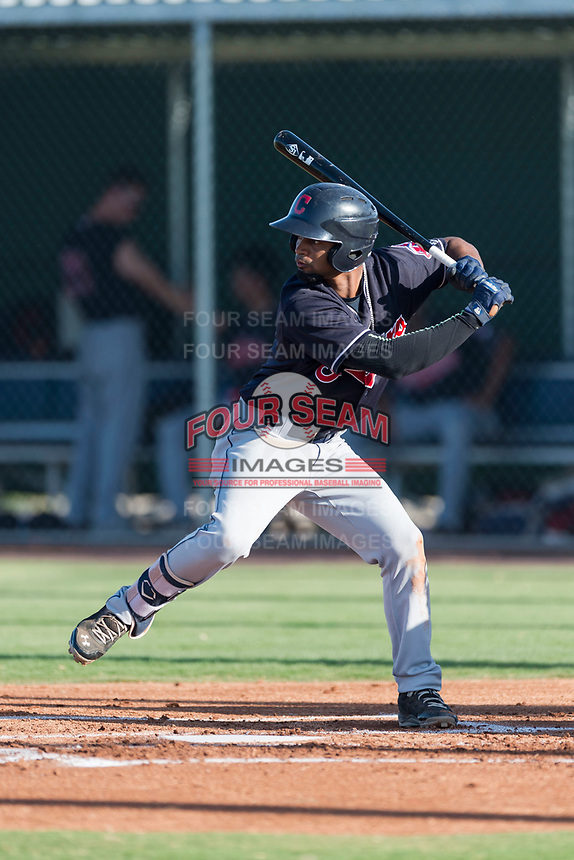 AZL Indians 1 second baseman Wilbis Santiago (2) at bat during an Arizona League game against the AZL Cubs 1 at Sloan Park on August 27, 2018 in Mesa, Arizona. The AZL Cubs 1 defeated the AZL Indians 1 by a score of 3-2. (Zachary Lucy/Four Seam Images)