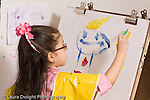 Education preschool 4 year olds art activity painting girl in smock painting recognizable figure human being at easel horizontal