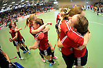 GER - Luebeck, Germany, February 06: Players of Duesseldorfer HC celebrate after winning the 1. Bundesliga Damen indoor hockey semi final match at the Final 4 between Berliner HC (blue) and Duesseldorfer HC (red) on February 6, 2016 at Hansehalle Luebeck in Luebeck, Germany. Final score 1-3 (HT 0-1). (Photo by Dirk Markgraf / www.265-images.com) *** Local caption ***