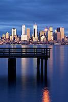 Seattle skyline and pier in Elliot Bay viewed from West Seattle, Seattle, Washington, US