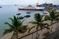 TANZANIA, Zanzibar, Stone town, container seaport and Azam Sealink passenger car ferry to mainland