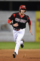 Batavia Muckdogs first baseman Eric Fisher (33) running the bases during a game against the Mahoning Valley Scrappers on August 22, 2014 at Dwyer Stadium in Batavia, New York.  Mahoning Valley defeated Batavia 2-1.  (Mike Janes/Four Seam Images)