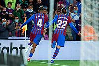 20th September 2021; Nou Camp, Barcelona, Spain; La Liga football league, FC Barcelona versus Granada CF;  Ronald Araujo of FC Barcelona celebrates their late equalising goal in minute 90 for 1-1 during the Liga match between FC Barcelona and Granada CF .