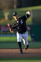 Kannapolis Intimidators starting pitcher Ryan Riga (12) in action against the Hickory Crawdads at Kannapolis Intimidators Stadium on April 8, 2016 in Kannapolis, North Carolina.  The Crawdads defeated the Intimidators 8-2.  (Brian Westerholt/Four Seam Images)
