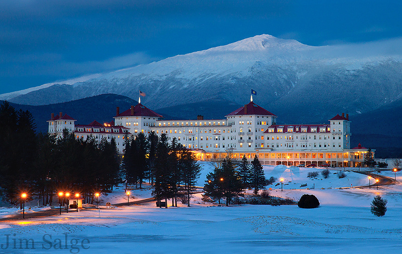 I had set up my camera to capture a panorama from Bethlehem, NH, but the light never came.  This vantage from Bretton Woods was plan 'B' for the evening, and the light at dusk and clouds above the peak created a perfect shot during the blue hour on this winter night.
