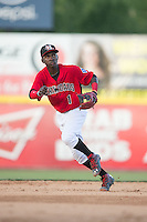 Hickory Crawdads shortstop Michael De Leon (1) on defense against the Savannah Sand Gnats at L.P. Frans Stadium on June 14, 2015 in Hickory, North Carolina.  The Crawdads defeated the Sand Gnats 8-1.  (Brian Westerholt/Four Seam Images)