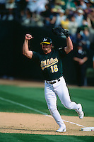 OAKLAND, CA - Jason Giambi of the Oakland Athletics celebrates the A's clinching a post season berth after a game at the Oakland Coliseum in Oakland, California in 2001. Photo by Brad Mangin