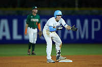 Kyle Datres (3) of the North Carolina Tar Heels celebrates after hitting a double during the game against the Miami Hurricanes in the second semifinal of the 2017 ACC Baseball Championship at Louisville Slugger Field on May 27, 2017 in Louisville, Kentucky. The Tar Heels defeated the Hurricanes 12-4. (Brian Westerholt/Four Seam Images)