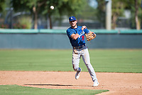 Los Angeles Dodgers second baseman Sam McWilliams (9) throws to first base during an Instructional League game against the Oakland Athletics at Camelback Ranch on October 4, 2018 in Glendale, Arizona. (Zachary Lucy/Four Seam Images)