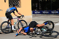 12th September 2021: Trento, Trentino–Alto Adige, Italy: UEC Road European Mens Elite Cycling Championships; Norman VAHTRA (EST) loses balance and goes down to crash