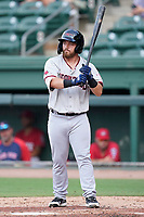 Third baseman Trey Hair (37) of the Hickory Crawdads in a game against the Greenville Drive on Friday, June 18, 2021, at Fluor Field at the West End in Greenville, South Carolina. (Tom Priddy/Four Seam Images)