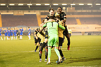 Marine players celebrate following their penalty shoot out victory during Colchester United vs Marine, Emirates FA Cup Football at the JobServe Community Stadium on 7th November 2020