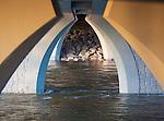 The artistic design of the bridge supports under the Orange Street bridge in Missoula, Montana