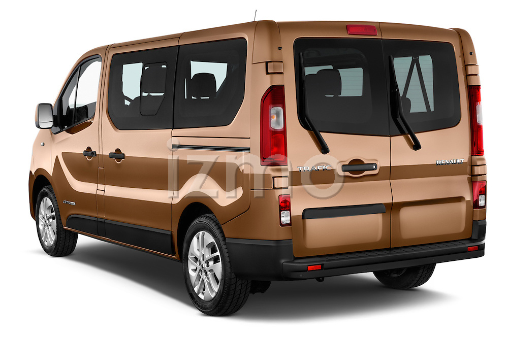 Car pictures of rear three quarter view of a 2015 Renault Trafic Luxe 5 Door Van angular rear