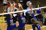 Emily Shultis, left, and Jenn Forbes block for the Marymount University Saints during first round action at the 6th annual Worthington Classic at Gallaudet University in Washington, D.C., on Friday, Sept. 28, 2012. .Photo by Cathleen Allison