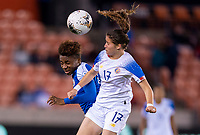 HOUSTON, TX - JANUARY 31: Melchie Dumonay #6 of Haiti goes up for a header with Maria Paula Salas #17 of Costa Rica during a game between Haiti and Costa Rica at BBVA Stadium on January 31, 2020 in Houston, Texas.