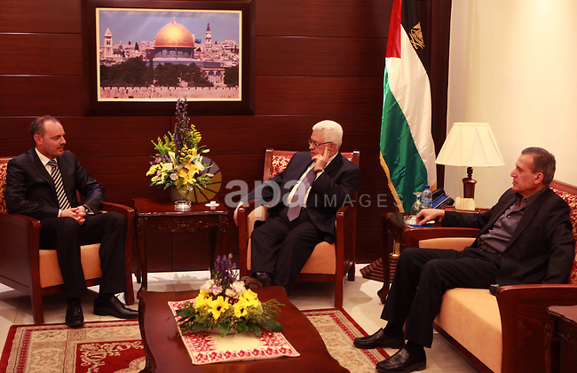 Palestinian President, Mahmoud Abbas (Abu Mazen), meets with Maltese Ambassador, in the West Bank City of Ramallah on April 24, 2012. Photo by Thaer Ganaim  .