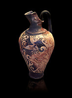 Mycenaean jug decorated with ivy leaves , Grave I, Grave Circle A, Mycenae 16-15 Cent BC. National Archaeological Museum Athens. Cat No 199.  Black Background