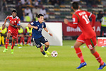 Doan Ritsu of Japan (C) in action during the AFC Asian Cup UAE 2019 Group F match between Oman (OMA) and Japan (JPN) at Zayed Sports City Stadium on 13 January 2019 in Abu Dhabi, United Arab Emirates. Photo by Marcio Rodrigo Machado / Power Sport Images