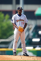 Scranton/Wilkes-Barre RailRiders pitcher Luis Severino (19) looks in for the sign during a game against the Buffalo Bisons on June 10, 2015 at Coca-Cola Field in Buffalo, New York.  Scranton/Wilkes-Barre defeated Buffalo 7-2.  (Mike Janes/Four Seam Images)