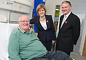 NHS Forth Valley Chairman Ian Mullen and Nicola Sturgeon MSP, Deputy First Minister and Cabinet Secretary for Health, Wellbeing and Cities Strategy, meet patient George Woods from Larbert during a visit of Forth Valley Royal Hospital's Acute Assessment Unit.