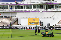 A good sign as nets are erected at the Hampshire Bowl on day 2 following the washout on day 1 during India vs New Zealand, ICC World Test Championship Final Cricket at The Hampshire Bowl on 19th June 2021