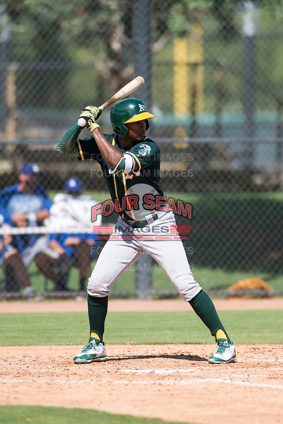 Oakland Athletics outfielder Daniel Bautista (28) at bat during an Instructional League game against the Los Angeles Dodgers at Camelback Ranch on October 4, 2018 in Glendale, Arizona. (Zachary Lucy/Four Seam Images)
