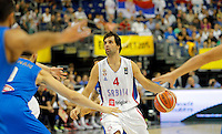 Serbia's Milos Teodosic controls the ball during European championship group B basketball match between Serbia and Italy on 10. September 2015 in Berlin, Germany  (credit image & photo: Pedja Milosavljevic / STARSPORT)