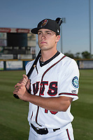 Modesto Nuts first baseman Evan White (18) poses for a photo before a California League game against the Lake Elsinore Storm at John Thurman Field on May 11, 2018 in Modesto, California. (Zachary Lucy/Four Seam Images)
