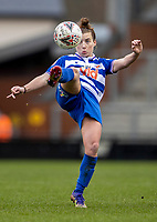 7th February 2021; Leigh Sports Village, Lancashire, England; Women's English Super League, Manchester United Women versus Reading Women; Angharas James of Reading reaches to clear the ball