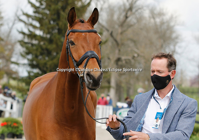 April 21, 2021: 36 Scuderia 1918 Don Quidam and rider Kevin McNab from Australia in the first horse veterinary inspection at the Land Rover Three Day Event at the Kentucky Horse Park in Lexington, KY on April 21, 2021.  Candice Chavez/ESW/CSM