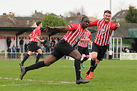 Tobi Joseph scores the first goal for Hornchurch and celebrates - AFC Hornchurch vs Billericay Town - Ryman League Premier Division Football at The Stadium, Bridge Avenue - 06/04/15 - MANDATORY CREDIT: Gavin Ellis/TGSPHOTO - Self billing applies where appropriate - contact@tgsphoto.co.uk - NO UNPAID USE