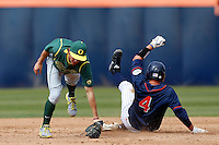 Aaron Payne #20 of the Oregon Ducks misses the tag at second base on Jake Jefferies #4 of the Cal State Fullerton Titans during a game at Goodwin Field on March 3, 2013 in Fullerton, California. (Larry Goren/Four Seam Images)